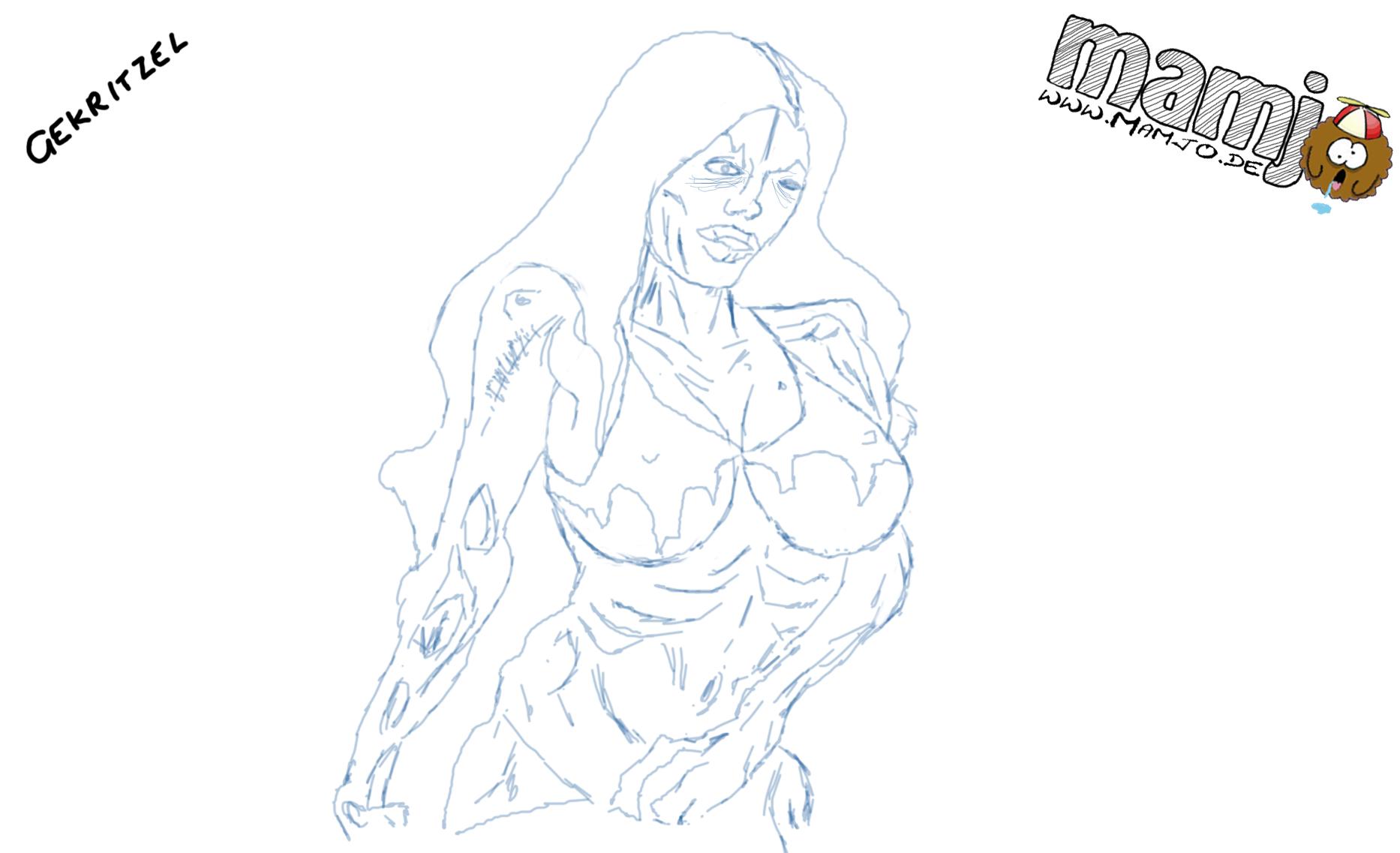 Zombie Frau Lady Mädchen zeichnung zeichnen skizze untot dead striper