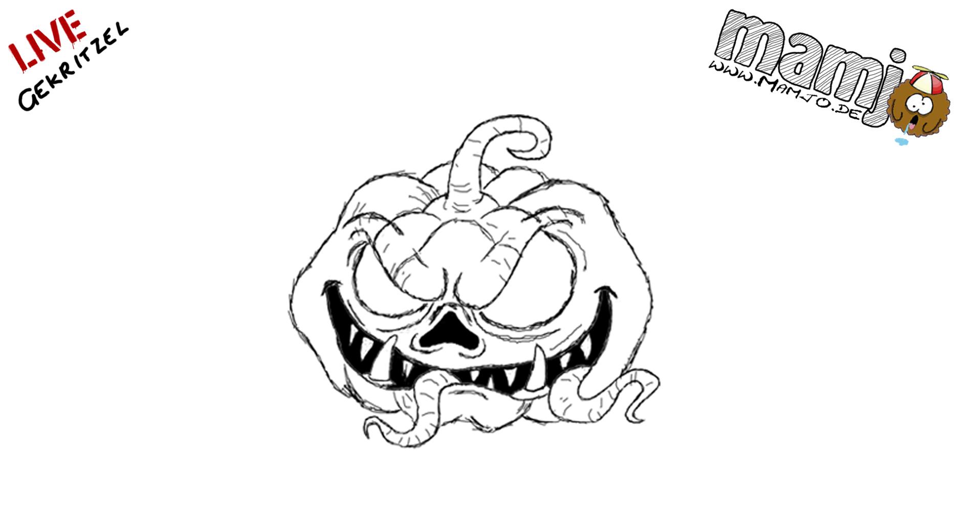 Halloween Kürbis Pumpkin Zeichnen Skizze Draw Paint Einfach Easy