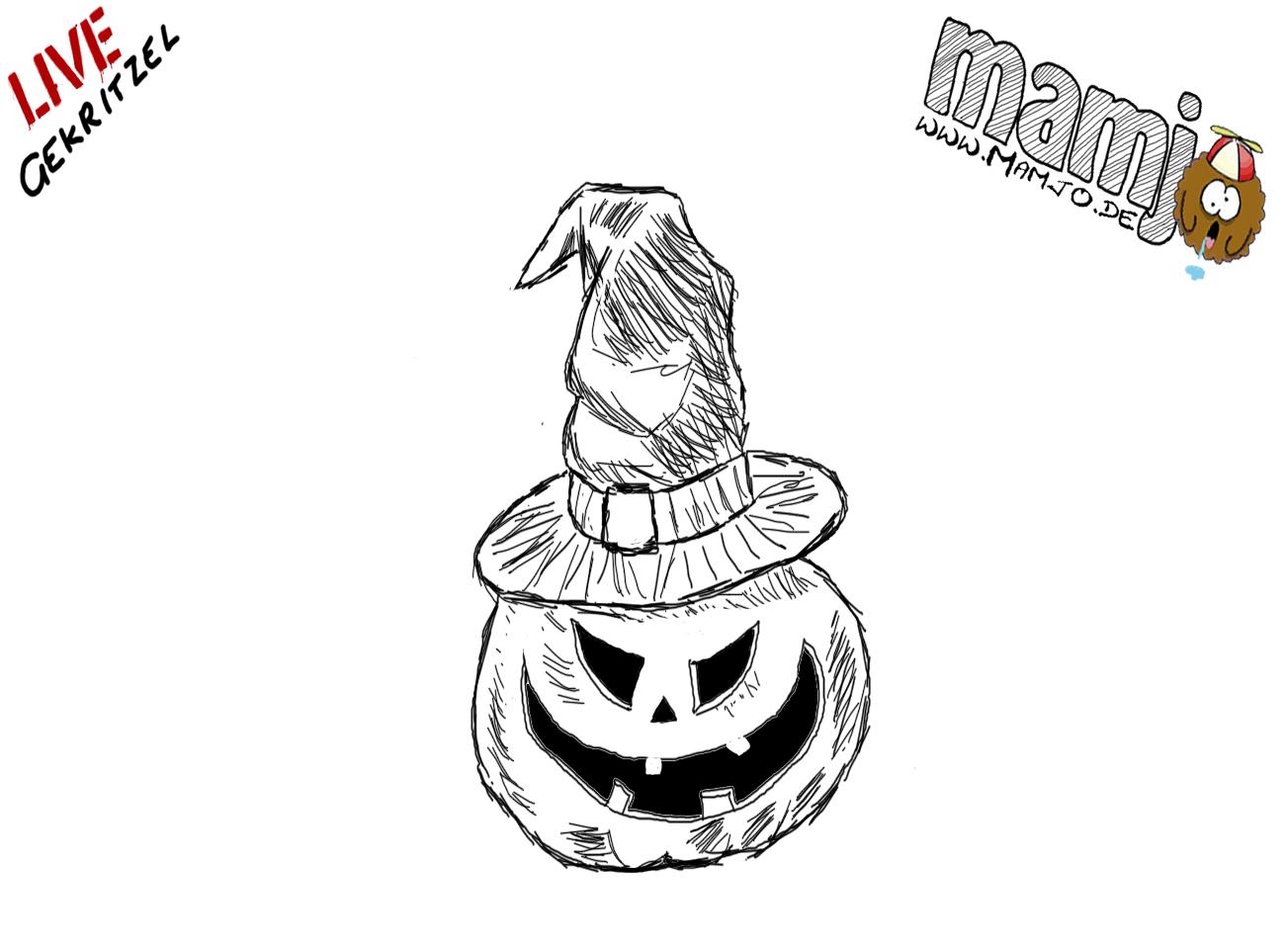 Halloween Kürbis Pumpkin mit Hexenhut zeichnen skizze draw paint einfach tutorial Mamjo easy