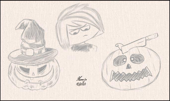 St-27-10-2020-1 halloween kürbis mädchen hexenhut comic cartoon mamjo