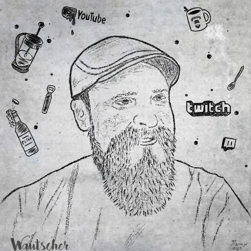 Wautscher stream streamer kaffee bier cartoon comic cartoonart mamjo live twitch youtube