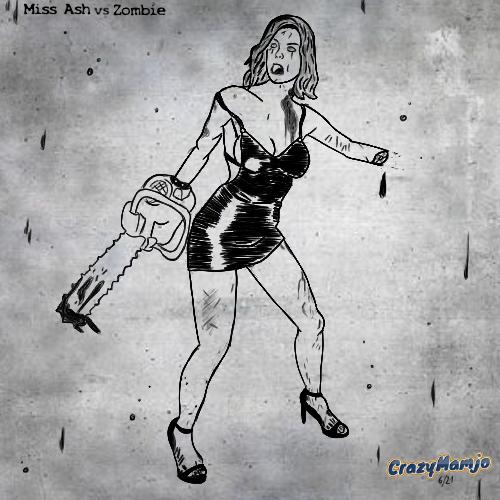 Zombieline Zombie Frau Eval Ash vs gegan Kettensäge sexy Mamjo cartoon cartoonart comic